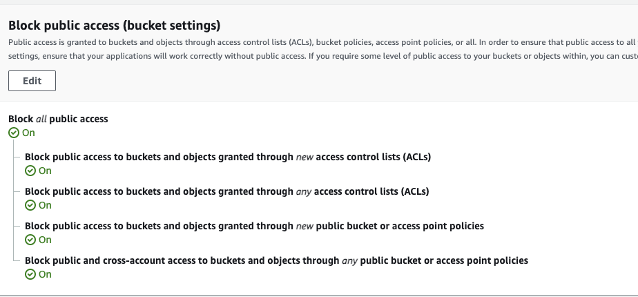Security features when creating an S3 bucket - public access settings